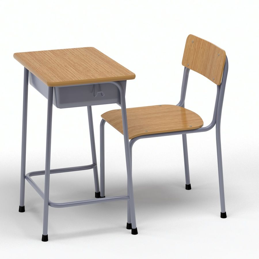 Bureau d'école et chaise V2 royalty-free 3d model - Preview no. 8