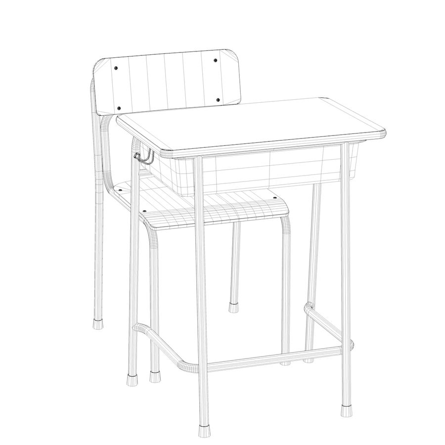 Bureau d'école et chaise V2 royalty-free 3d model - Preview no. 22