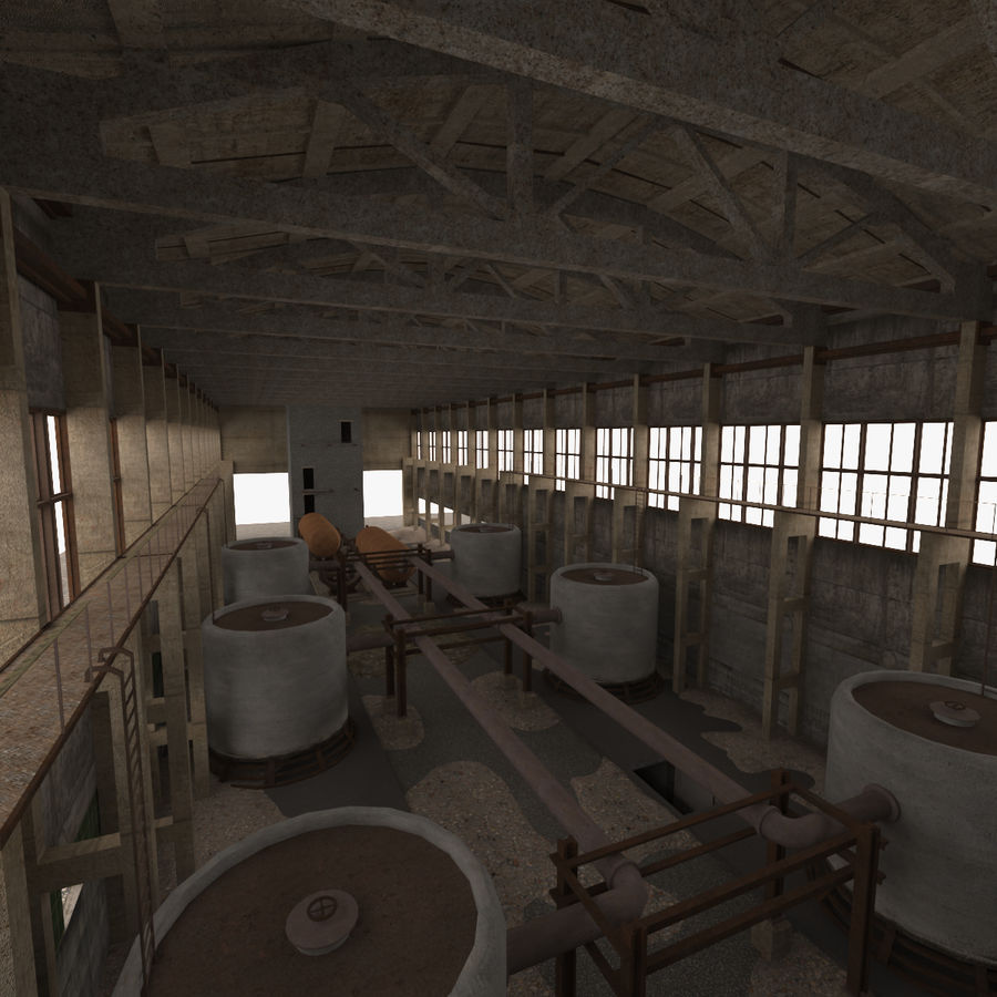Abandoned Industrial Building royalty-free 3d model - Preview no. 1