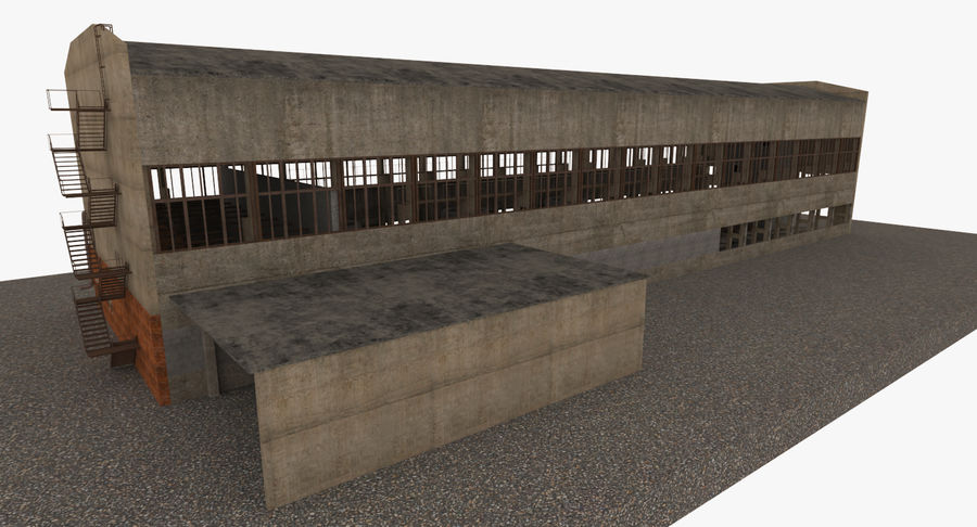 Abandoned Industrial Building royalty-free 3d model - Preview no. 20