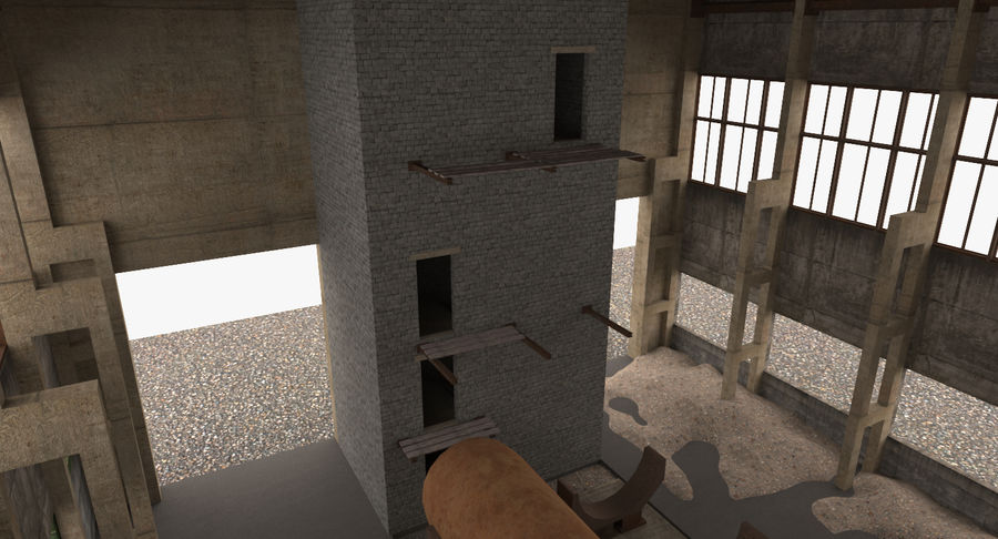 Abandoned Industrial Building royalty-free 3d model - Preview no. 8