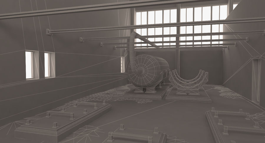 Abandoned Industrial Building royalty-free 3d model - Preview no. 13