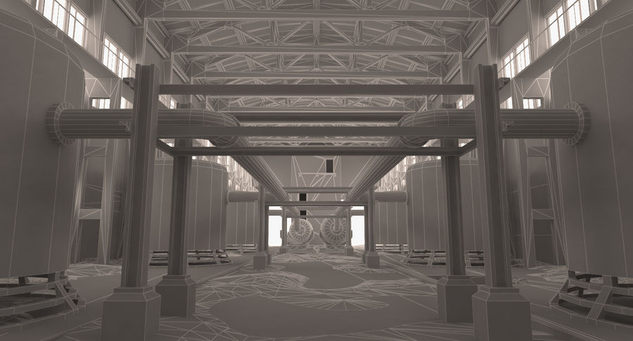 Abandoned Industrial Building royalty-free 3d model - Preview no. 5
