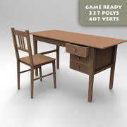Desk And Chair Game Ready 3d model