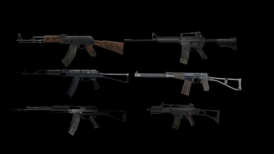 Assault Rifles Weapons Pack royalty-free 3d model - Preview no. 1