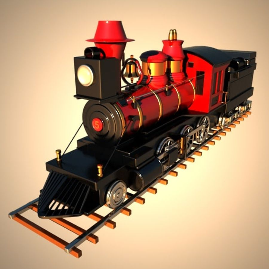 Toon Train royalty-free 3d model - Preview no. 2
