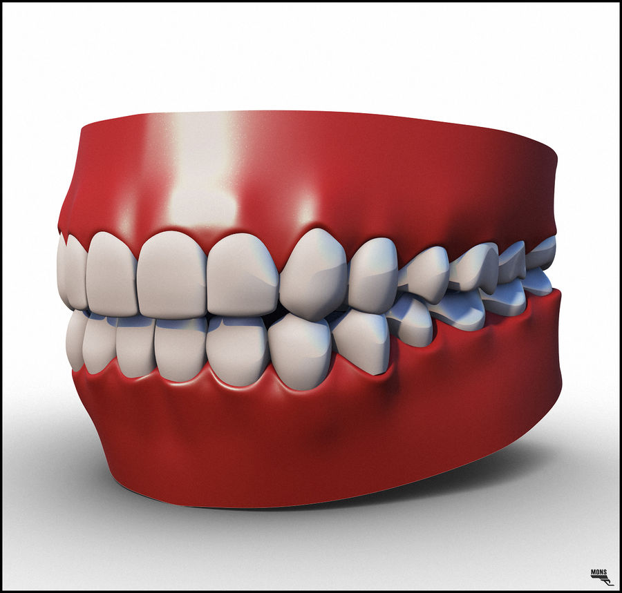 Teeth Cartoon royalty-free 3d model - Preview no. 1