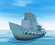 Tug boat ( low-poly ) 3d model