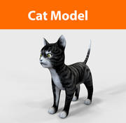 cat game ready low poly 3d model