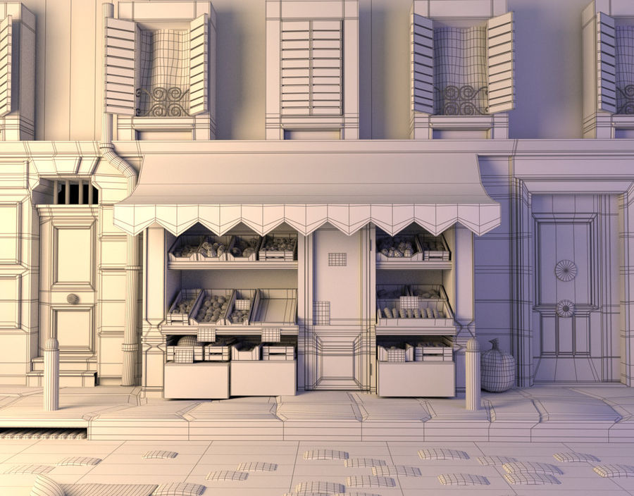 Magasin de fruits de bande dessinée royalty-free 3d model - Preview no. 4