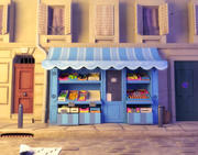 Magasin de fruits de bande dessinée 3d model