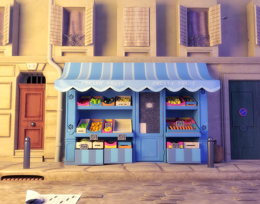 Magasin de fruits de bande dessinée royalty-free 3d model - Preview no. 1