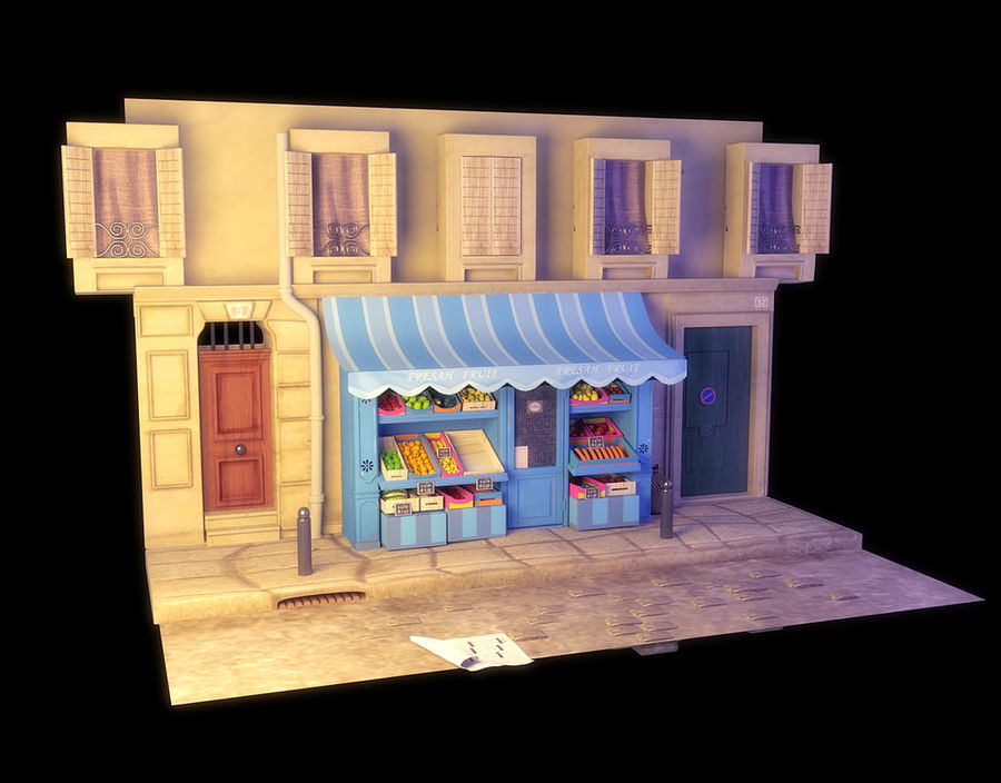 Magasin de fruits de bande dessinée royalty-free 3d model - Preview no. 3