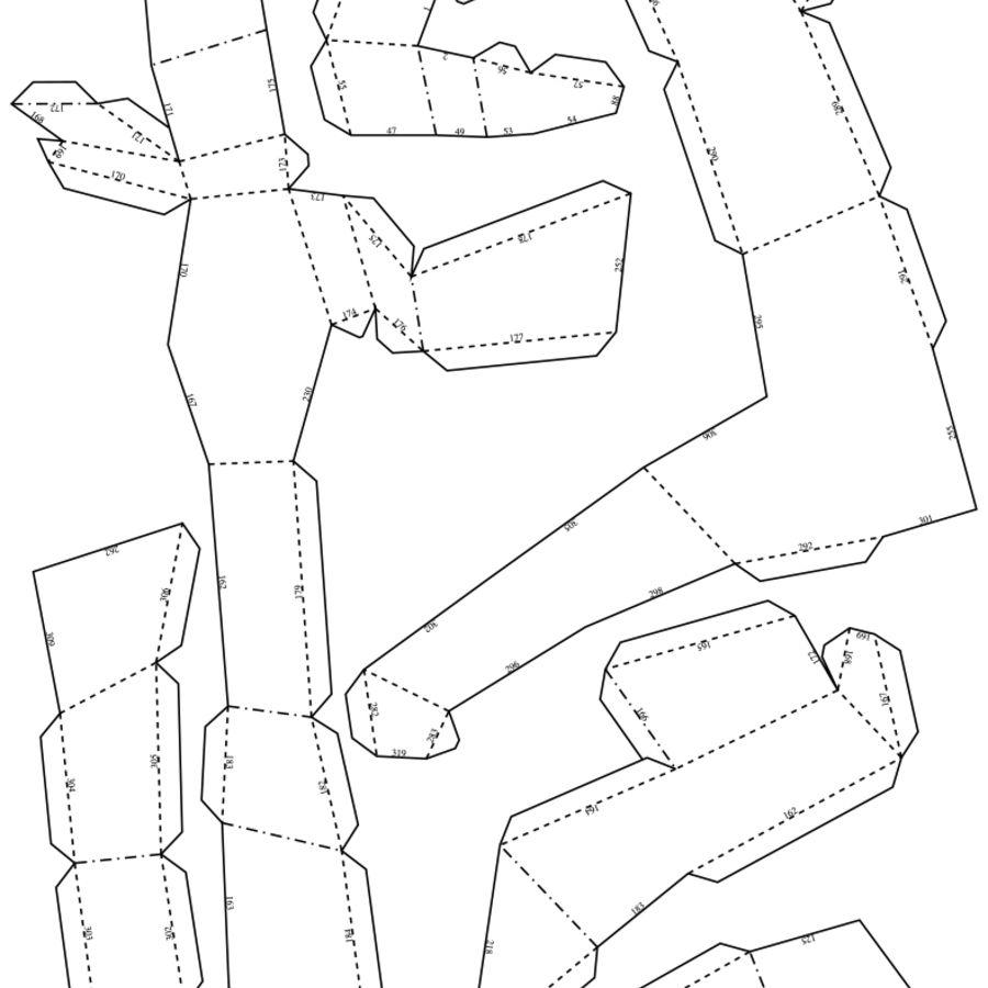 Polar Bear Papercraft royalty-free 3d model - Preview no. 9