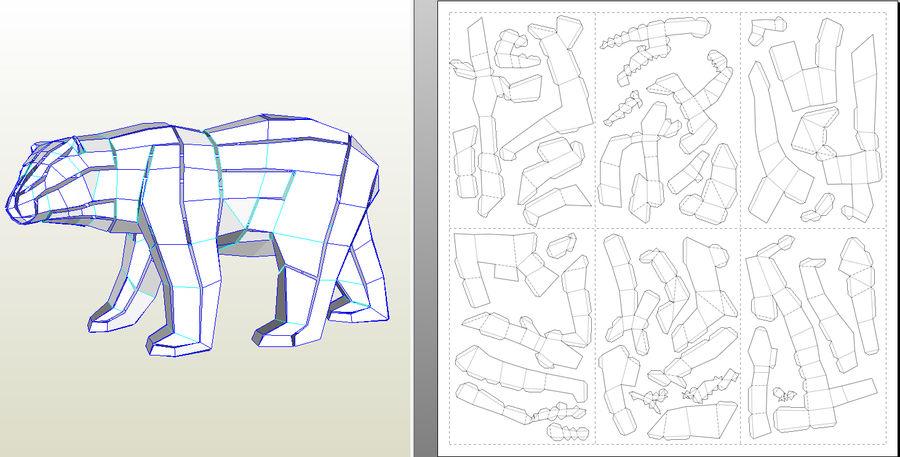Polar Bear Papercraft royalty-free 3d model - Preview no. 8