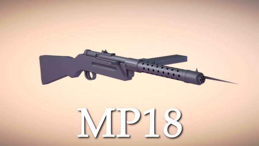Pistolet maszynowy MP18 (WW2) royalty-free 3d model - Preview no. 1