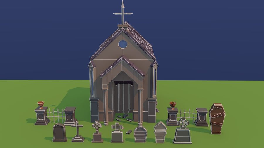 Cimitero basso poli royalty-free 3d model - Preview no. 8
