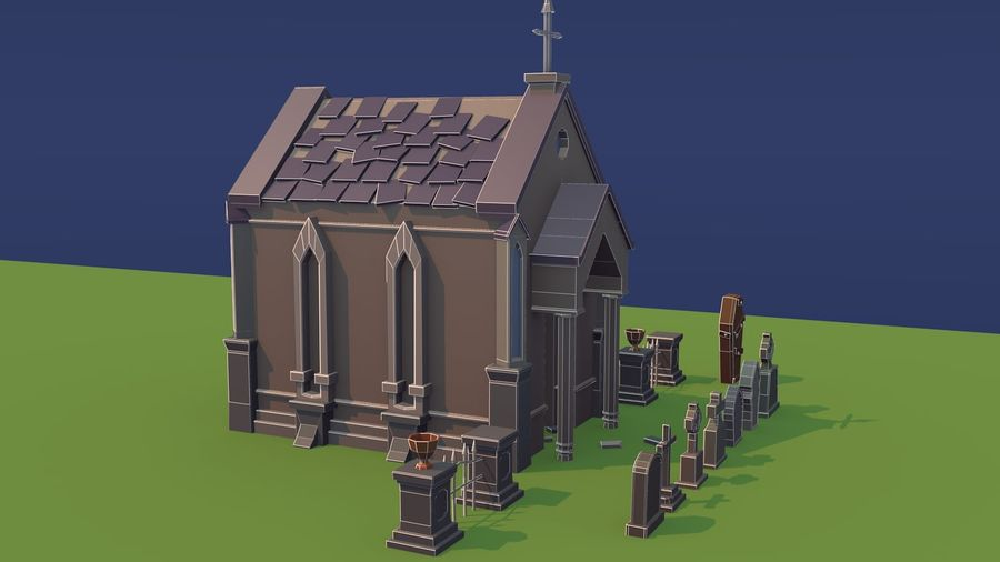 Low poly cemetery royalty-free 3d model - Preview no. 9
