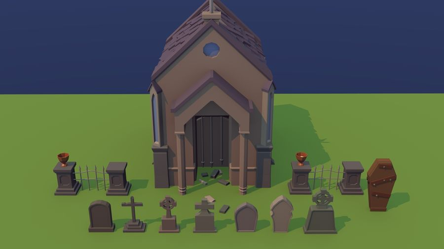 Low poly cemetery royalty-free 3d model - Preview no. 4