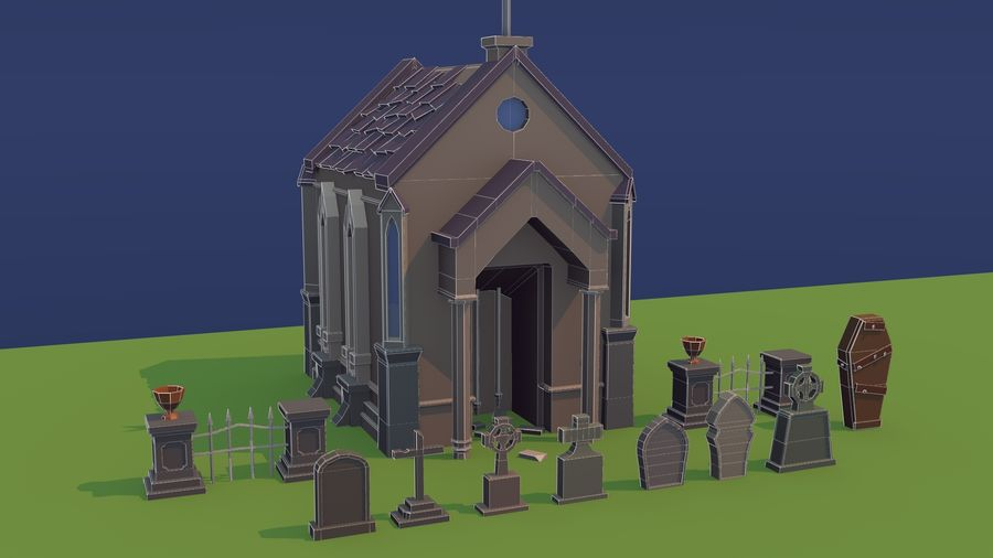 Low poly cemetery royalty-free 3d model - Preview no. 7
