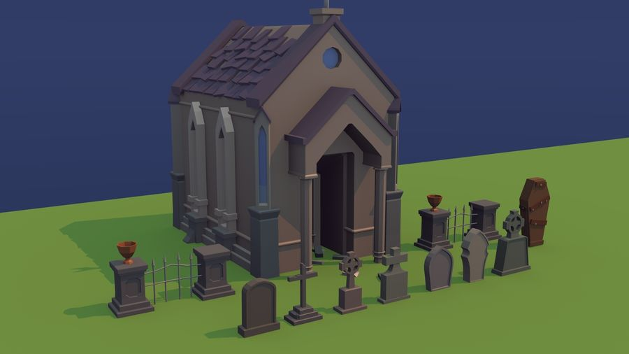 Cimitero basso poli royalty-free 3d model - Preview no. 5