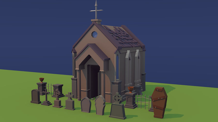 Low poly cemetery royalty-free 3d model - Preview no. 1