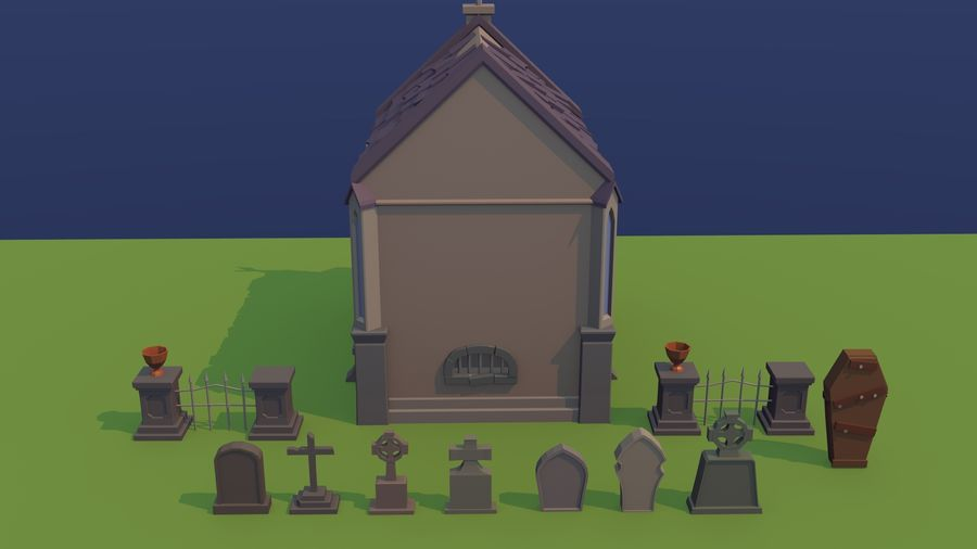 Cimitero basso poli royalty-free 3d model - Preview no. 6