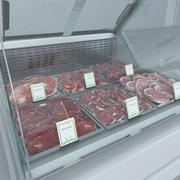 Refrigerated Showcase with Meat Steaks 3d model