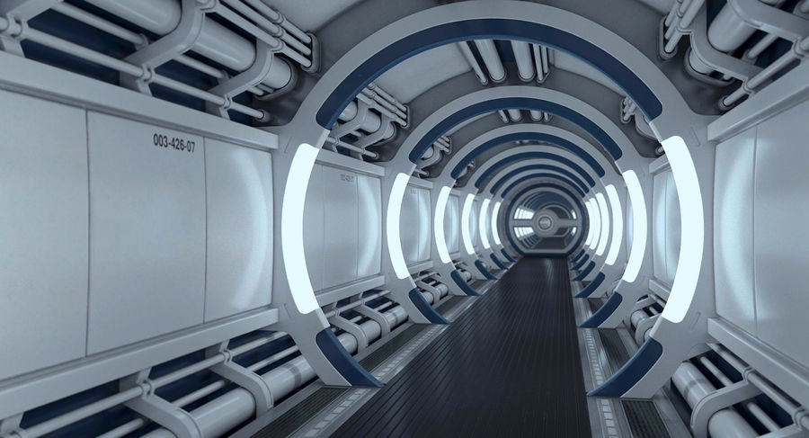 Sci Fi Spaceship Corridor royalty-free 3d model - Preview no. 2