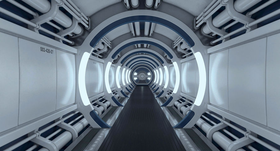 Sci Fi Spaceship Corridor royalty-free 3d model - Preview no. 4