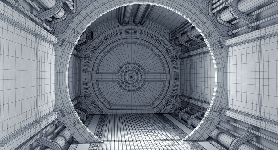 Sci Fi Spaceship Corridor royalty-free 3d model - Preview no. 11