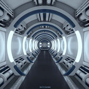 Corredor de la nave espacial de ciencia ficción modelo 3d