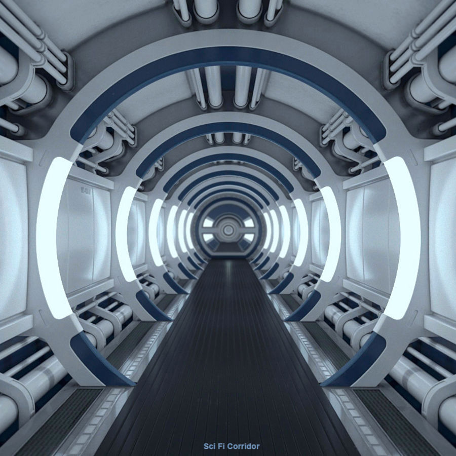 Sci Fi Spaceship Corridor royalty-free 3d model - Preview no. 1