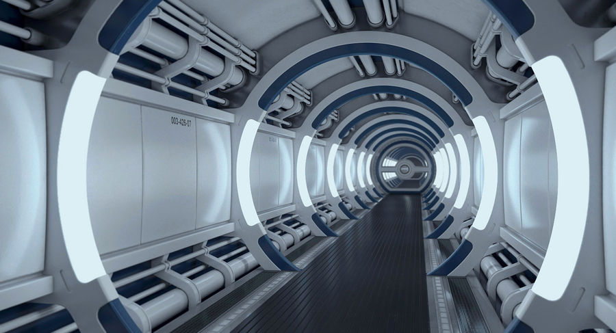 Sci Fi Spaceship Corridor royalty-free 3d model - Preview no. 6