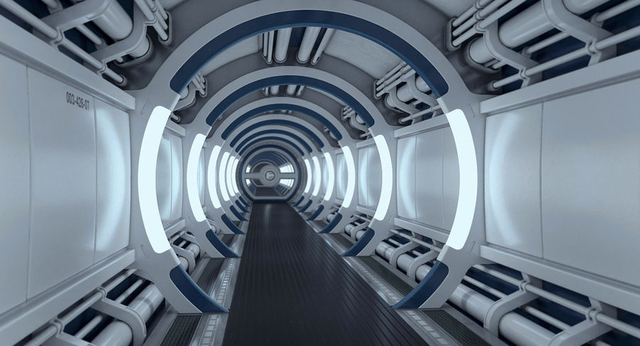 Sci Fi Spaceship Corridor royalty-free 3d model - Preview no. 8