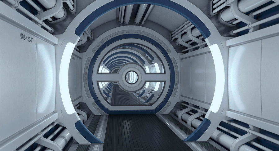 Sci Fi Spaceship Corridor royalty-free 3d model - Preview no. 10