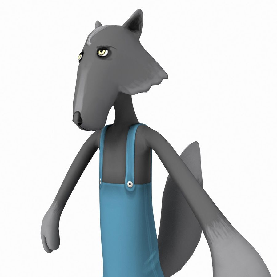 Cartoon Wolf royalty-free 3d model - Preview no. 5
