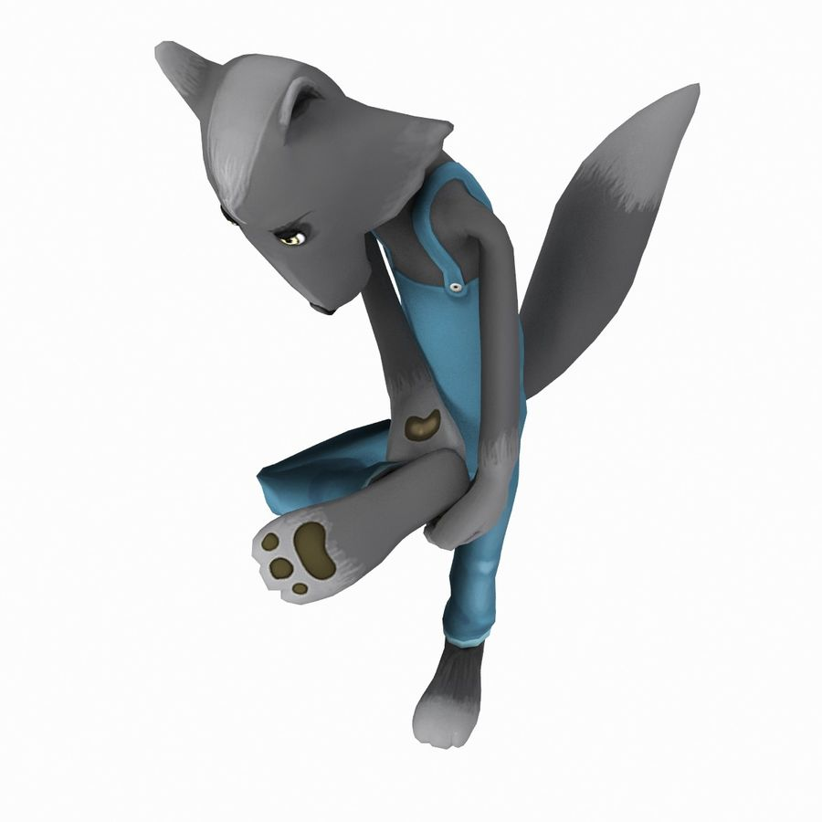 Cartoon Wolf royalty-free 3d model - Preview no. 3