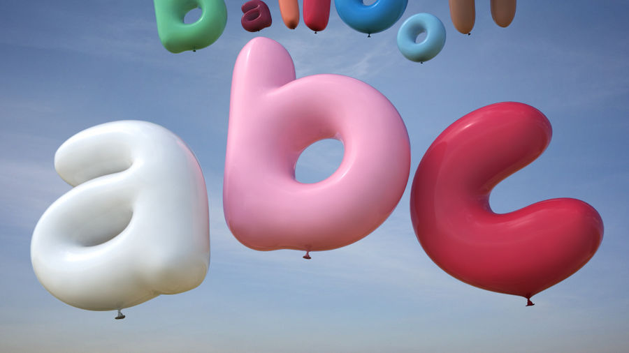 Balloon Alphabet lower cases royalty-free 3d model - Preview no. 3