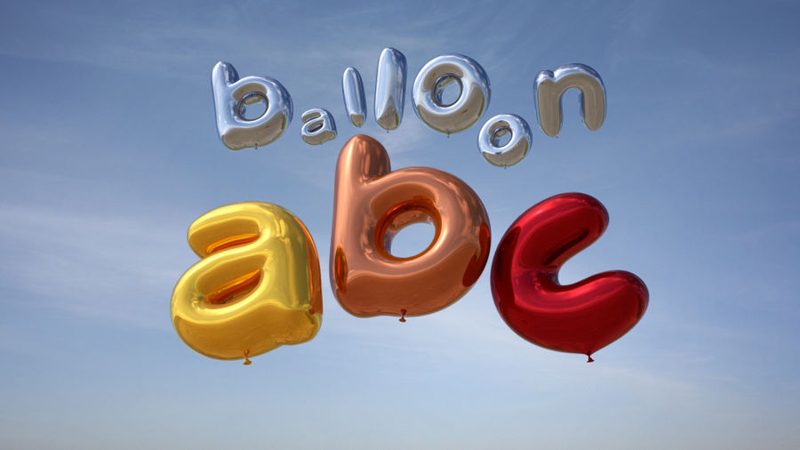 Balloon Alphabet lower cases royalty-free 3d model - Preview no. 2