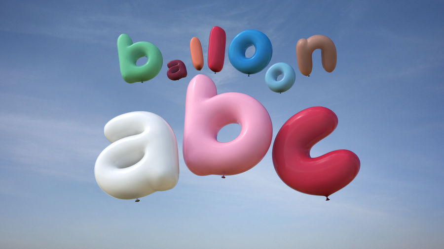 Balloon Alphabet lower cases royalty-free 3d model - Preview no. 1