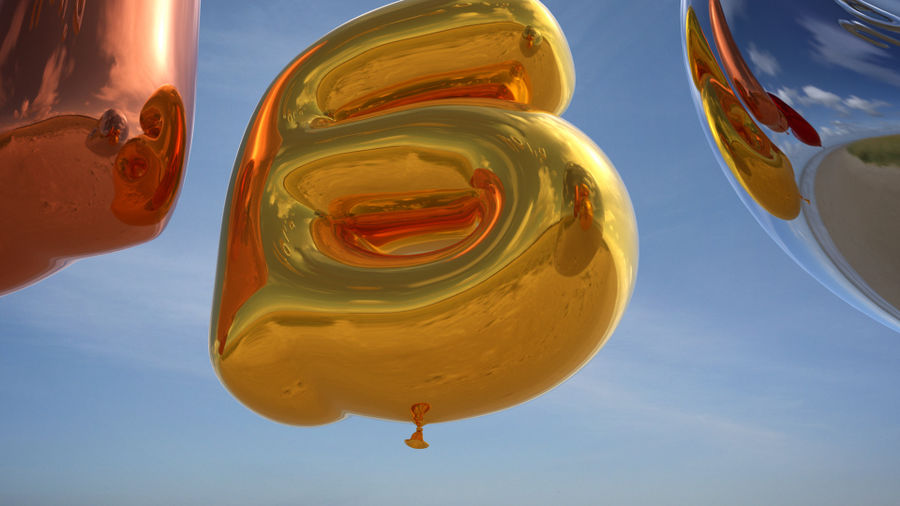 Balloon Alphabet lower cases royalty-free 3d model - Preview no. 6