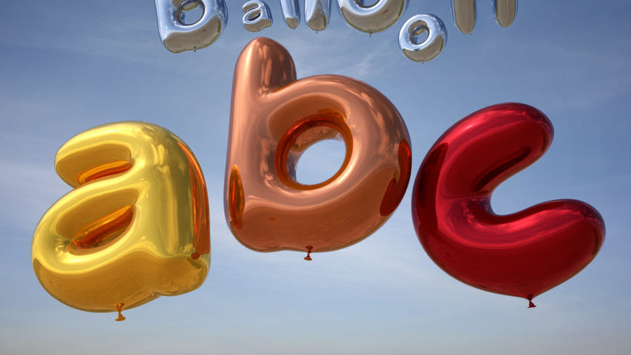 Balloon Alphabet lower cases royalty-free 3d model - Preview no. 4
