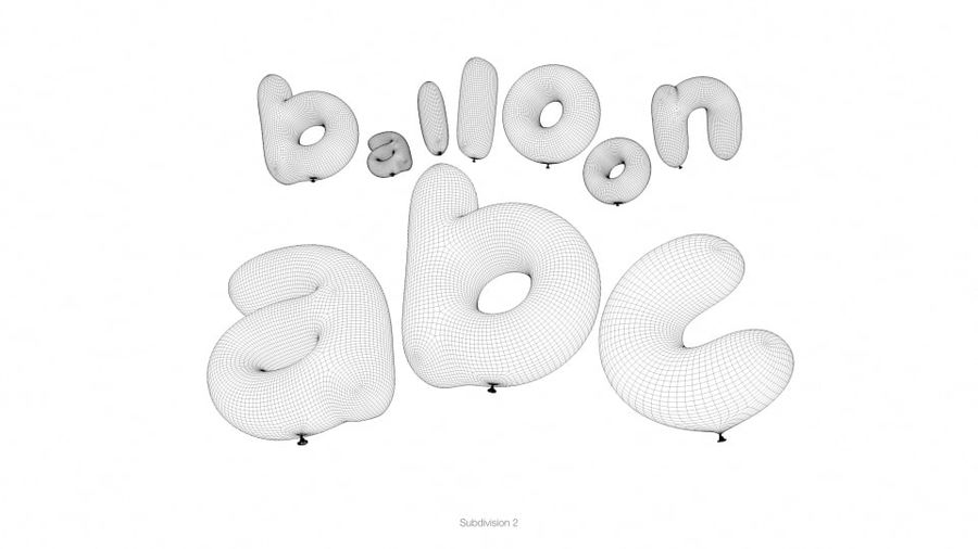 Balloon Alphabet lower cases royalty-free 3d model - Preview no. 17