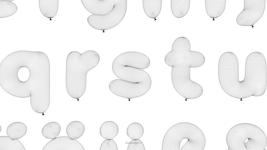 Balloon Alphabet lower cases royalty-free 3d model - Preview no. 22