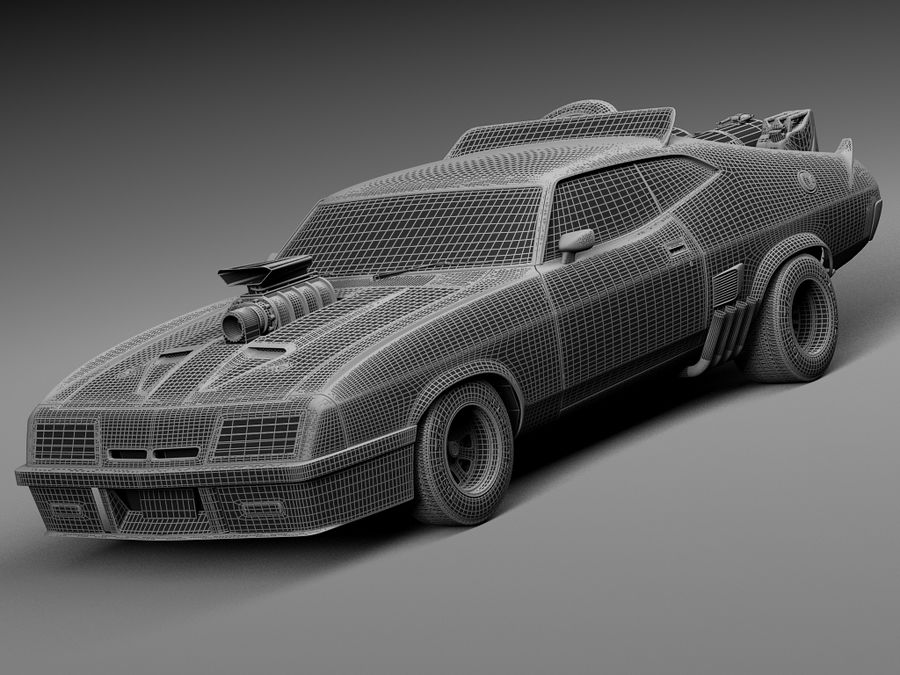 Mad Max Interceptor movie car royalty-free 3d model - Preview no. 15