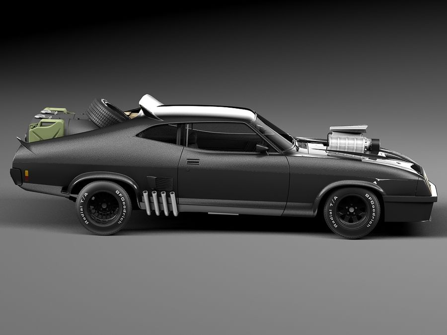 Mad Max Interceptor movie car royalty-free 3d model - Preview no. 7