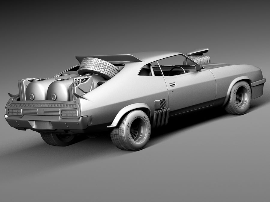 Mad Max Interceptor movie car royalty-free 3d model - Preview no. 14