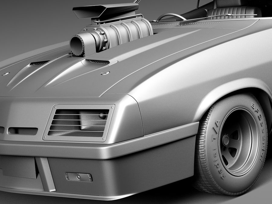 Mad Max Interceptor movie car royalty-free 3d model - Preview no. 12