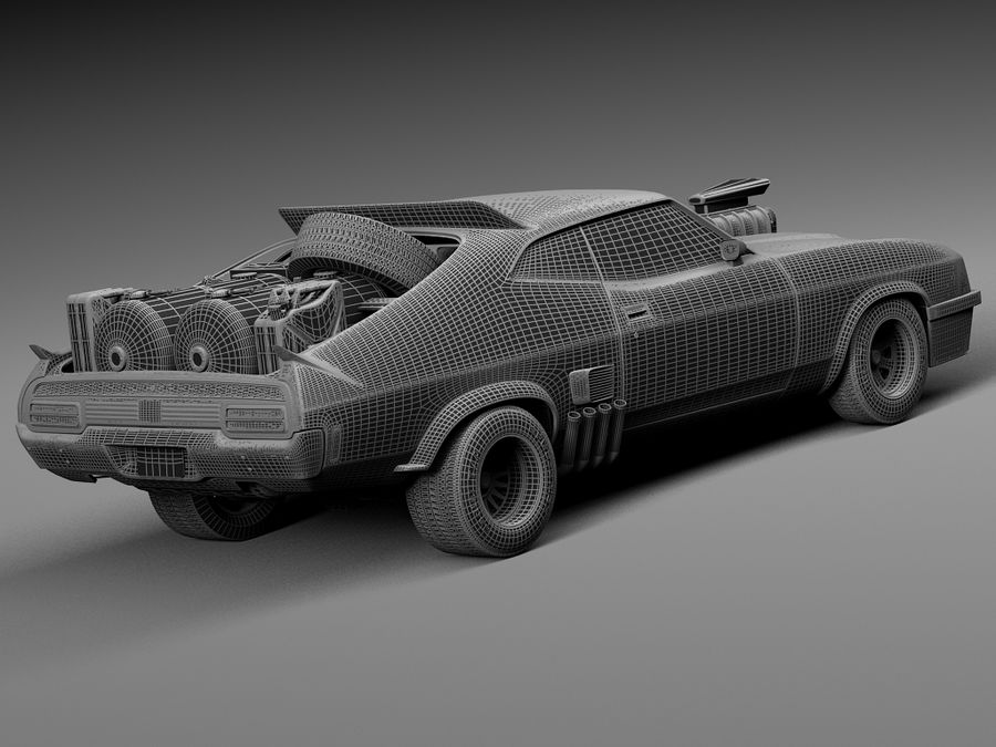 Mad Max Interceptor movie car royalty-free 3d model - Preview no. 16